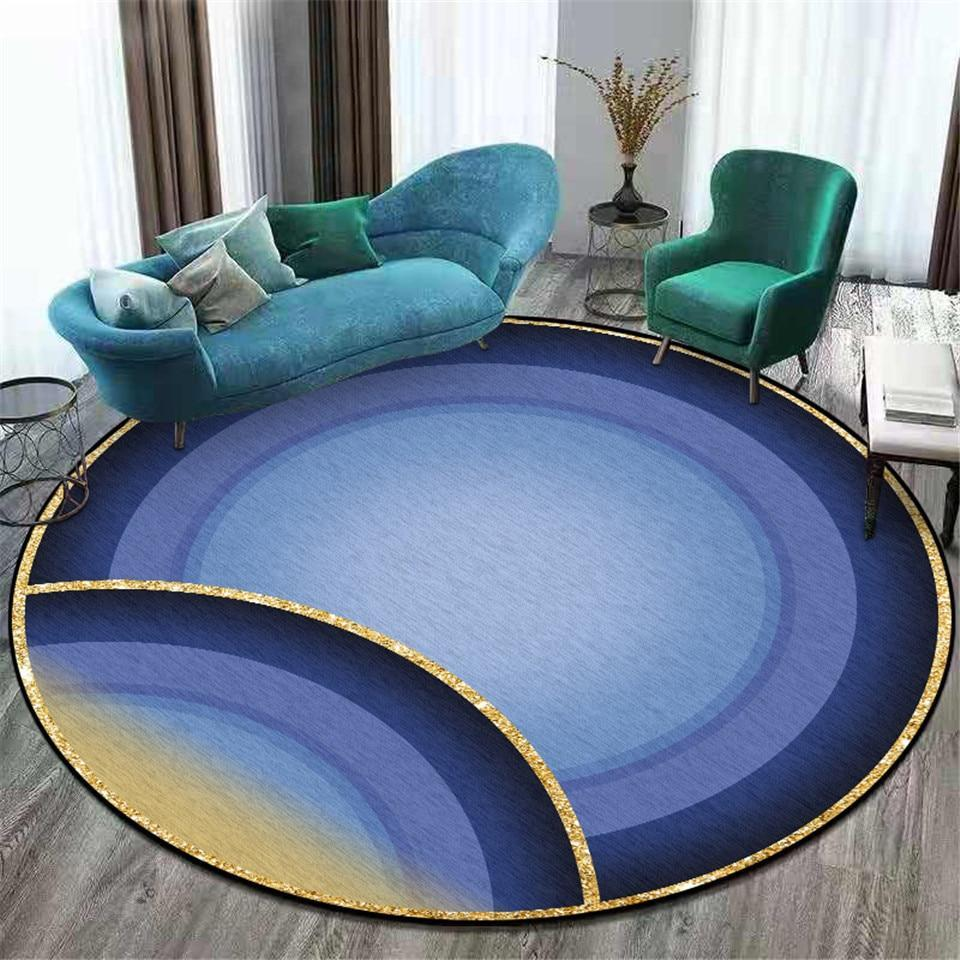 Großer Runder Teppich <br> Blaugrün