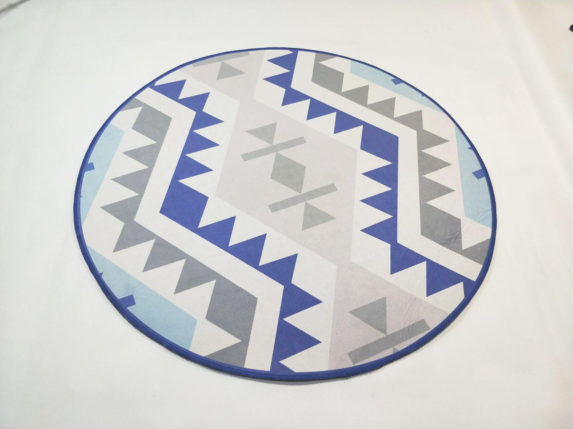 Großer Runder Teppich <br> Nordic Design Blau und Grau