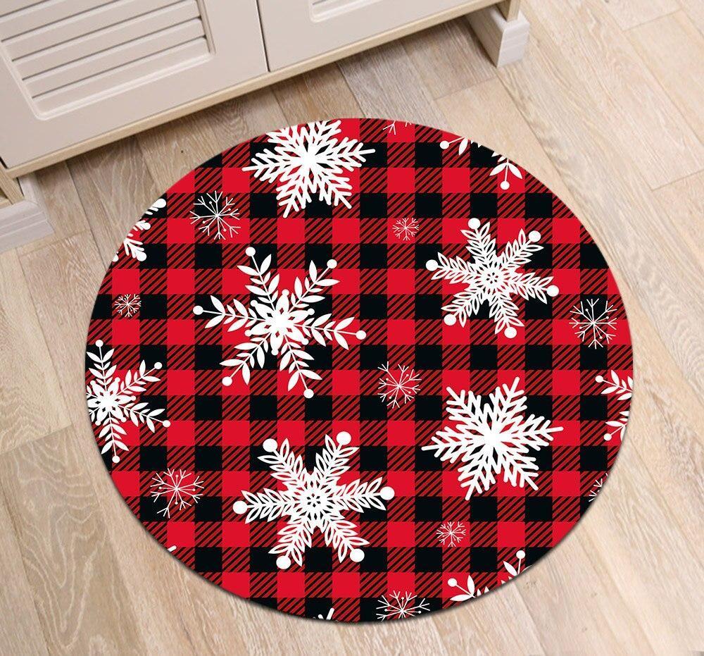 Großer Runder Teppich <br> Rot