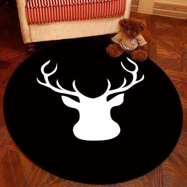 Großer Runder Teppich <br> Schwarz