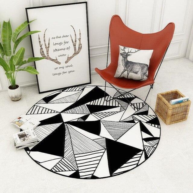 Großer Runder Teppich <br> Weiß