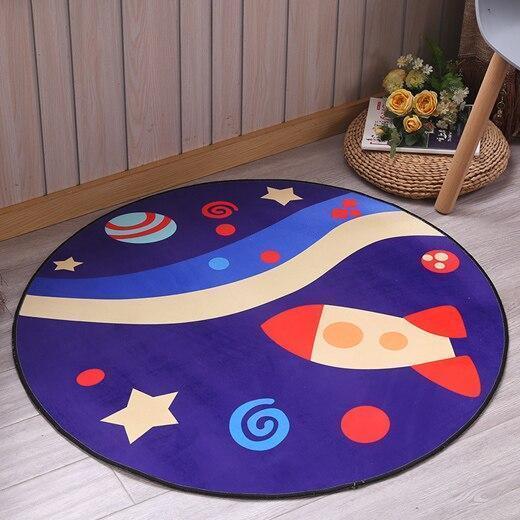 Kleiner Runder Teppich <br> Blau