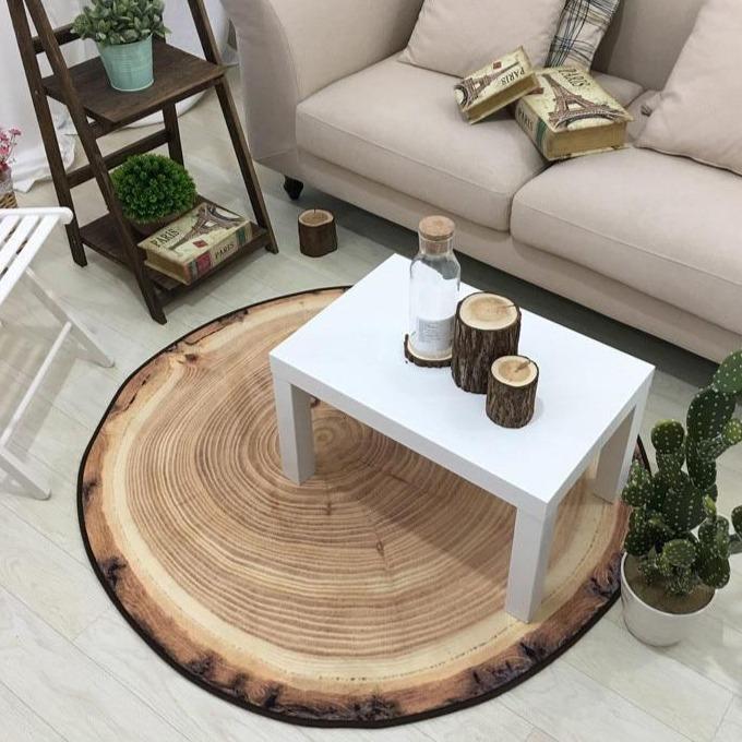Kleiner Runder Teppich <br> Holz-Effekt