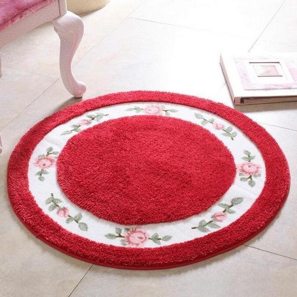 Kleiner Runder Teppich <br> Rot