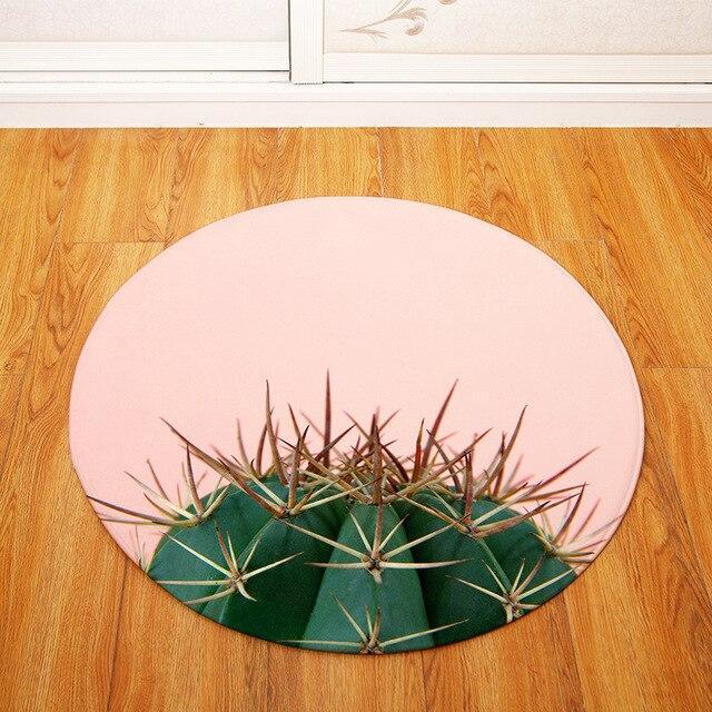 Runde Fußmatte <br> Kaktus