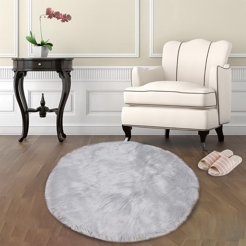 Runder Grauer <br> Wohnzimmer Teppich