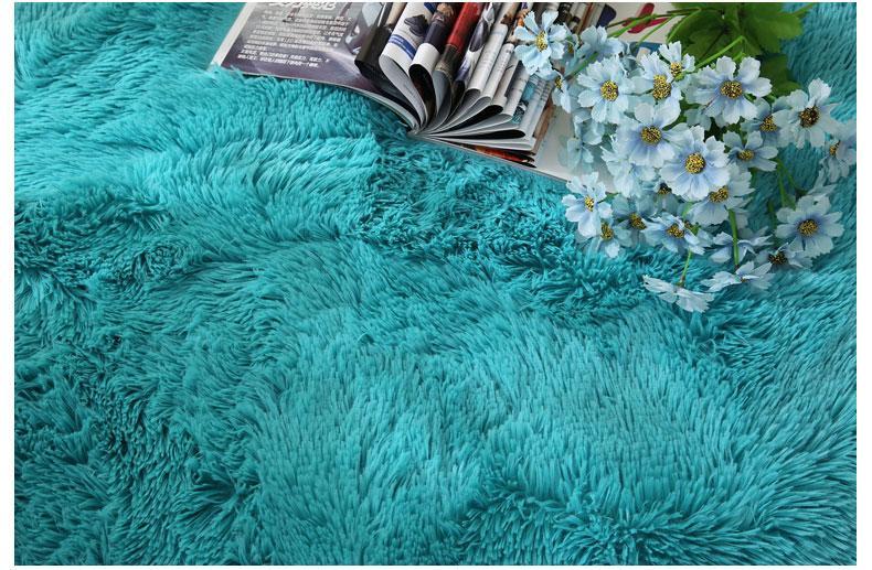 Runder Shaggy-Teppich <br> Blau