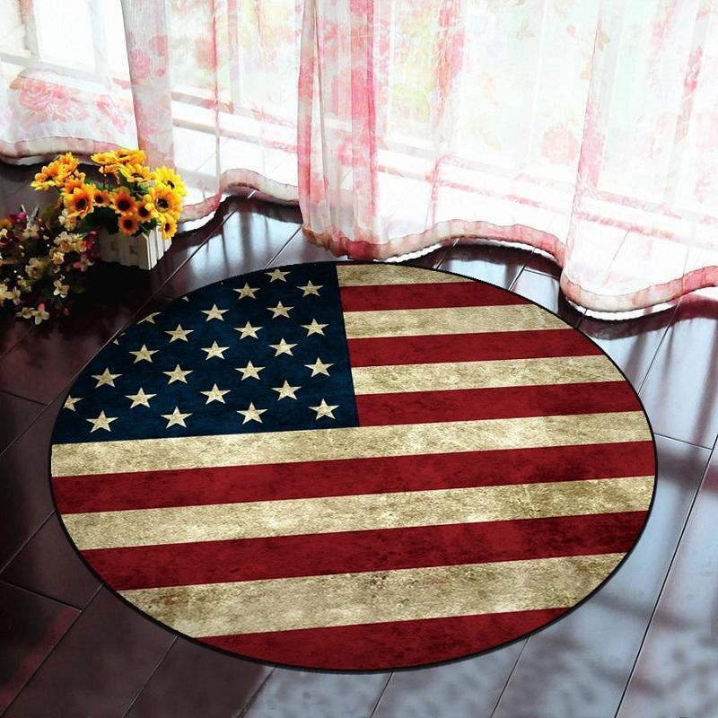 Runder Teppich <br> Amerikanische Flagge