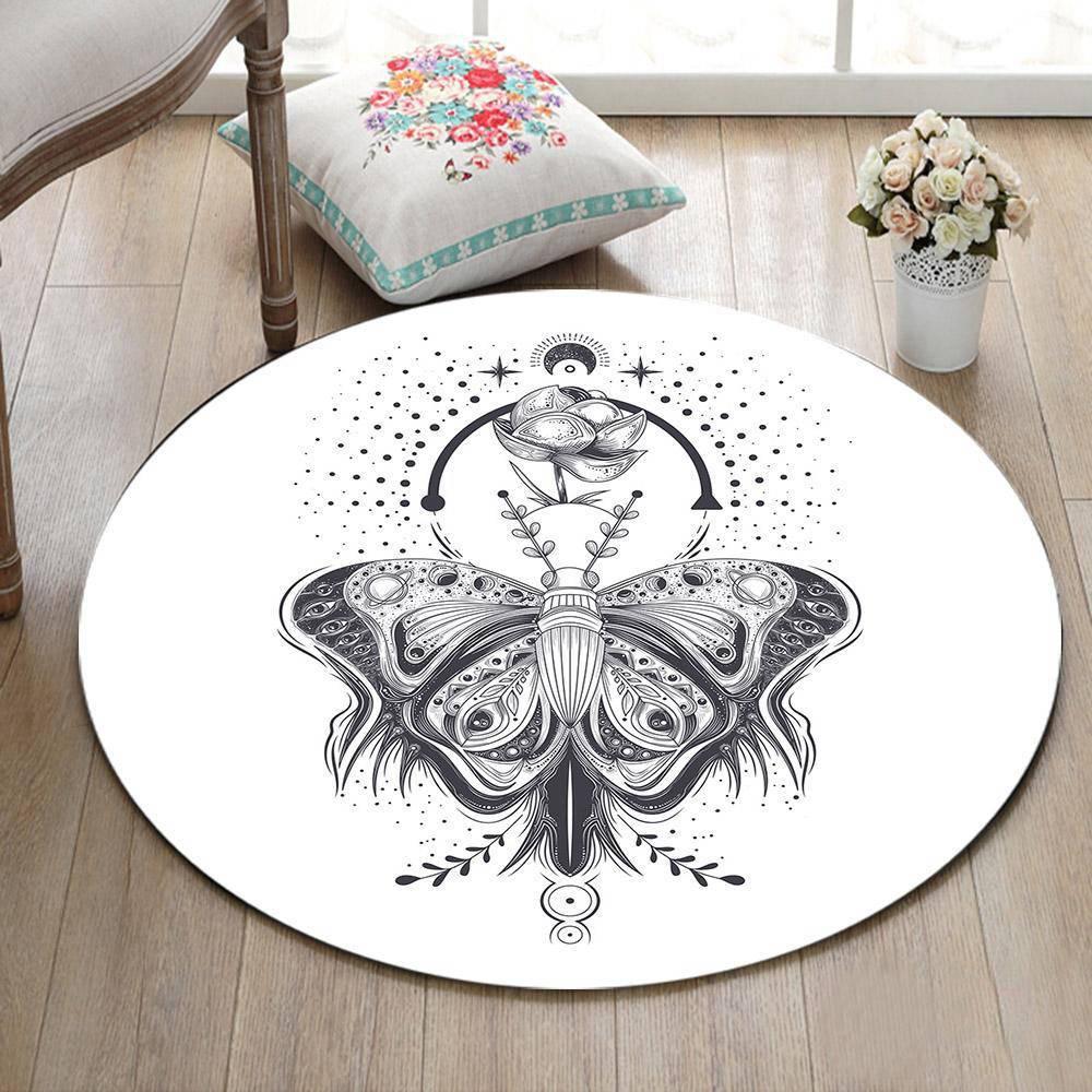Runder Teppich <br>  Anmutiger Schmetterling