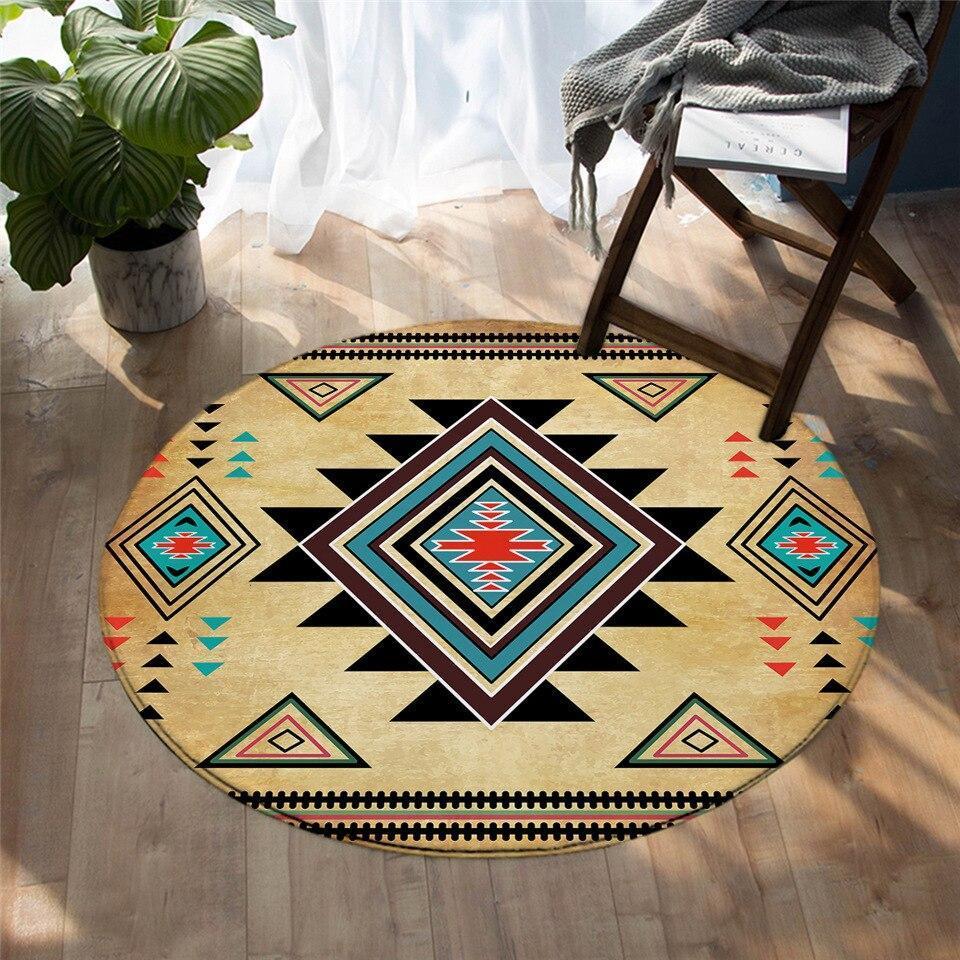 Runder Teppich <br> Aztekisch