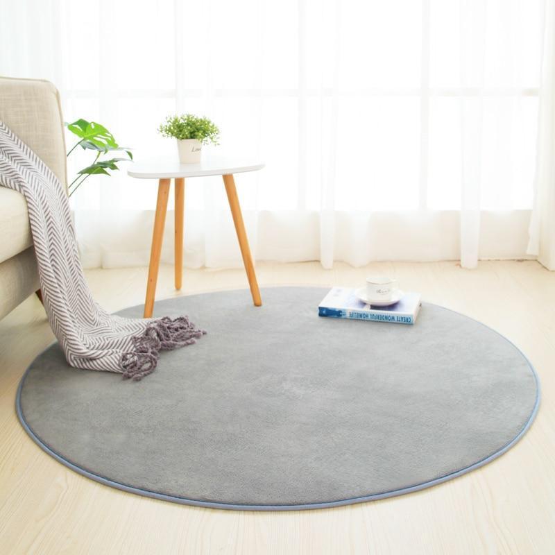 Runder Teppich <br> Badezimmer Grau