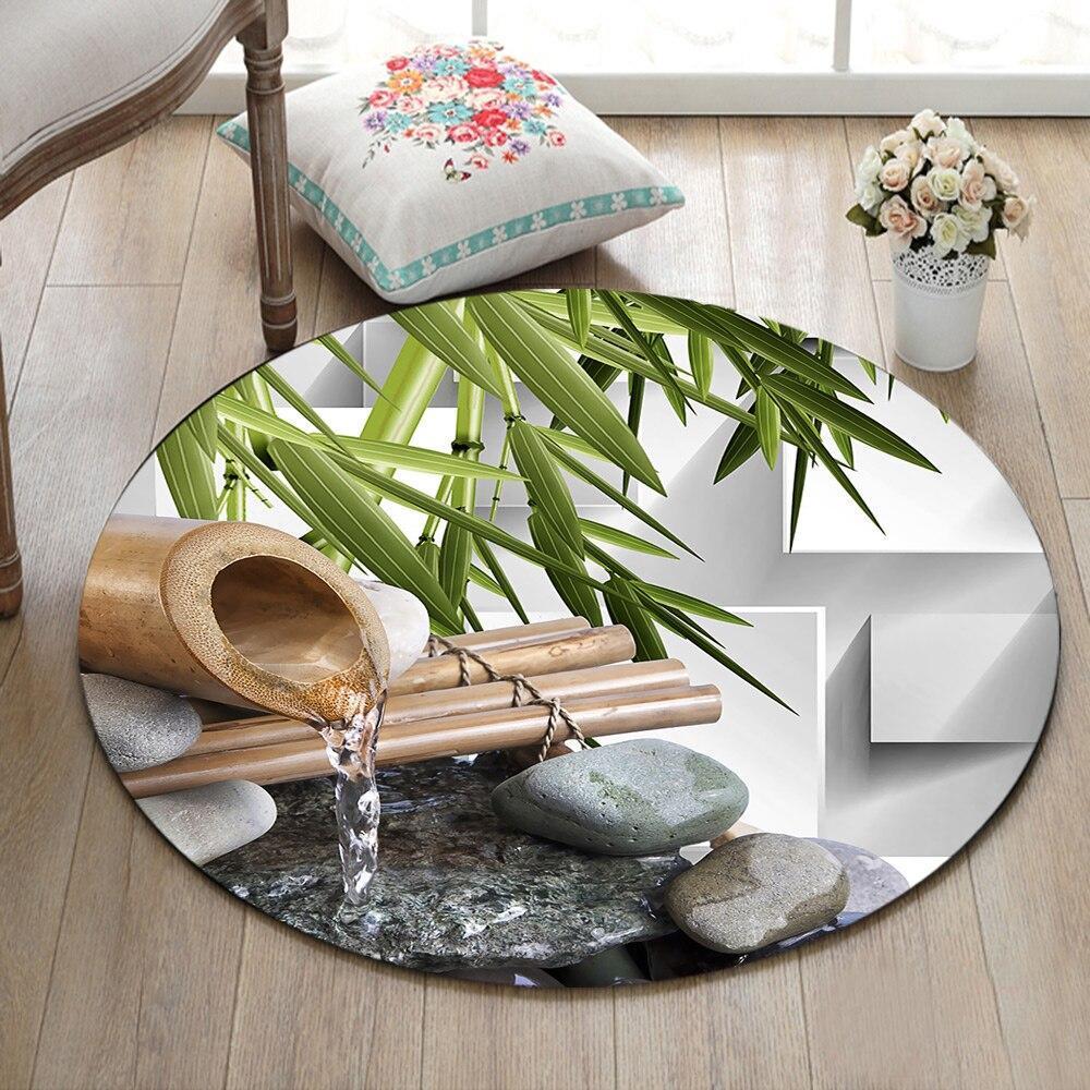 Runder Teppich <br> Bambus