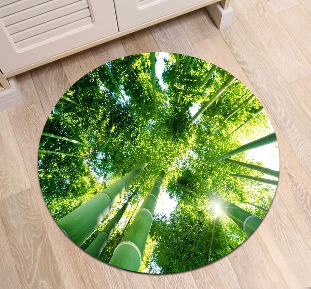Runder Teppich <br> Bambuslatten