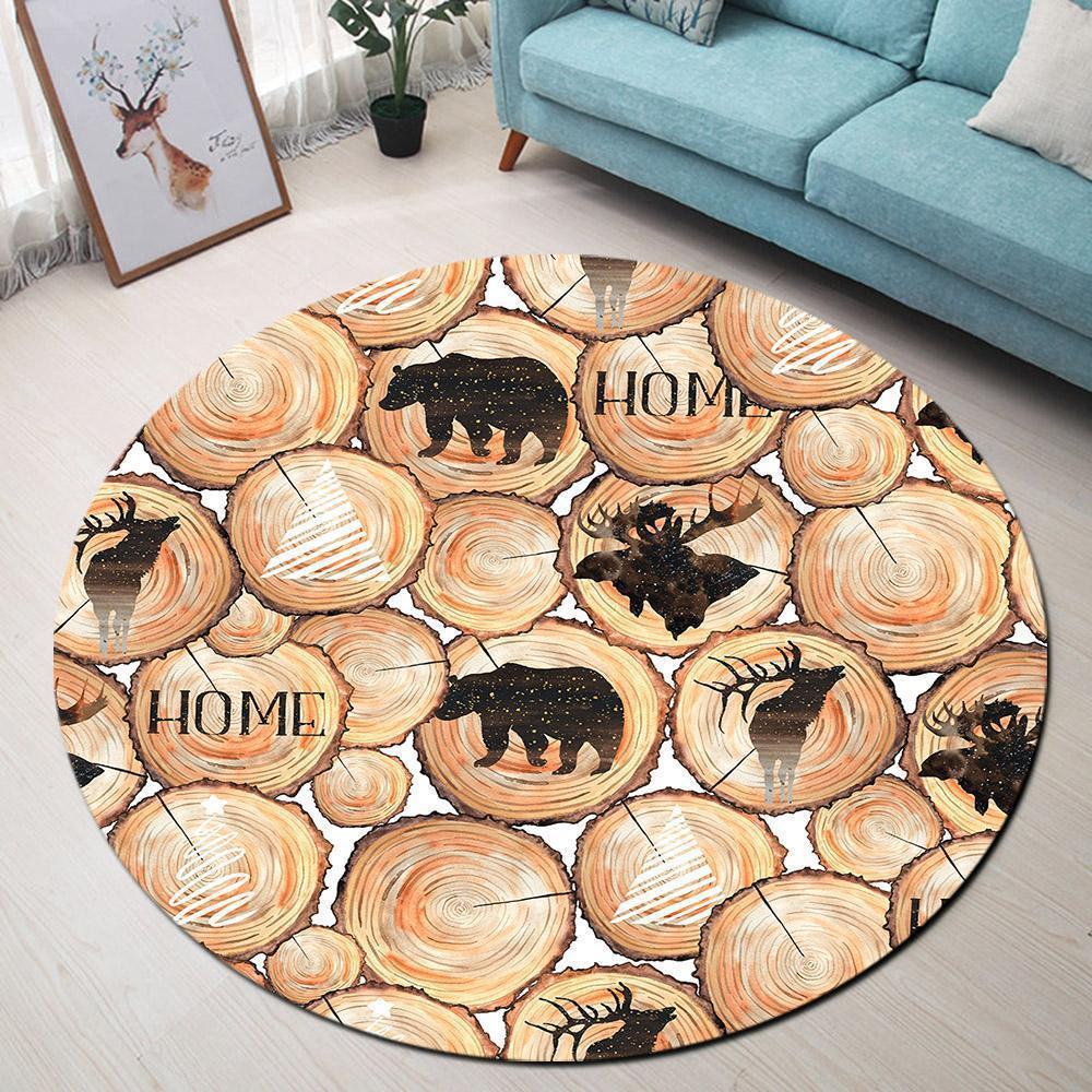 Runder Teppich <br> Bär und Hirsch