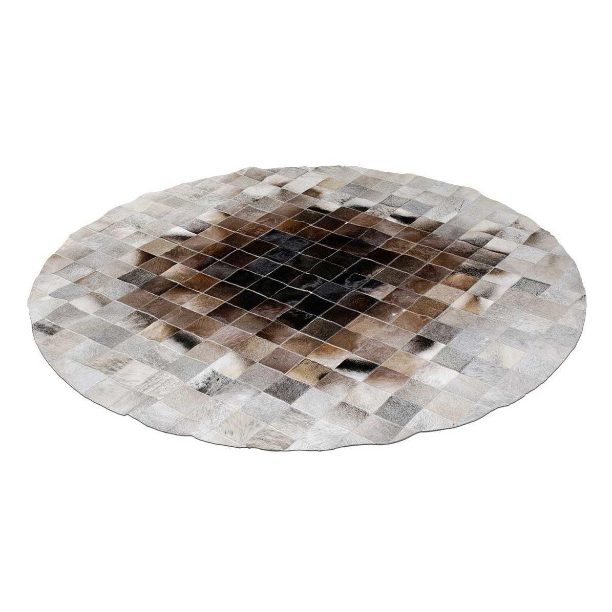 Runder Teppich <br> Beiges und Braunes Rindsleder