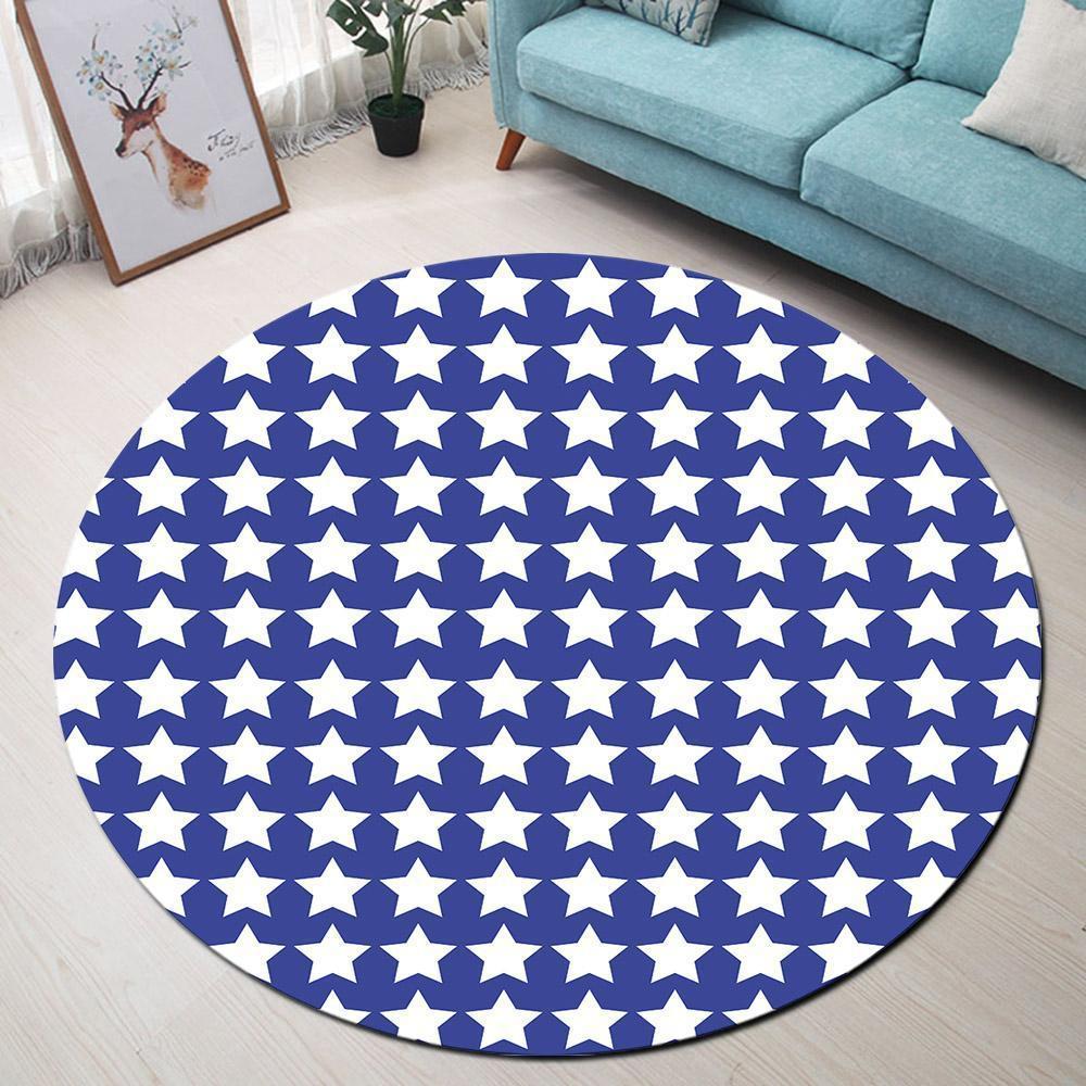 Runder Teppich <br> Blau mit Stern