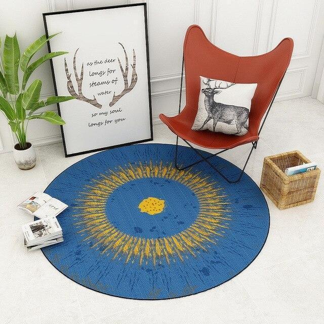 Runder Teppich <br> Blau und Gelb