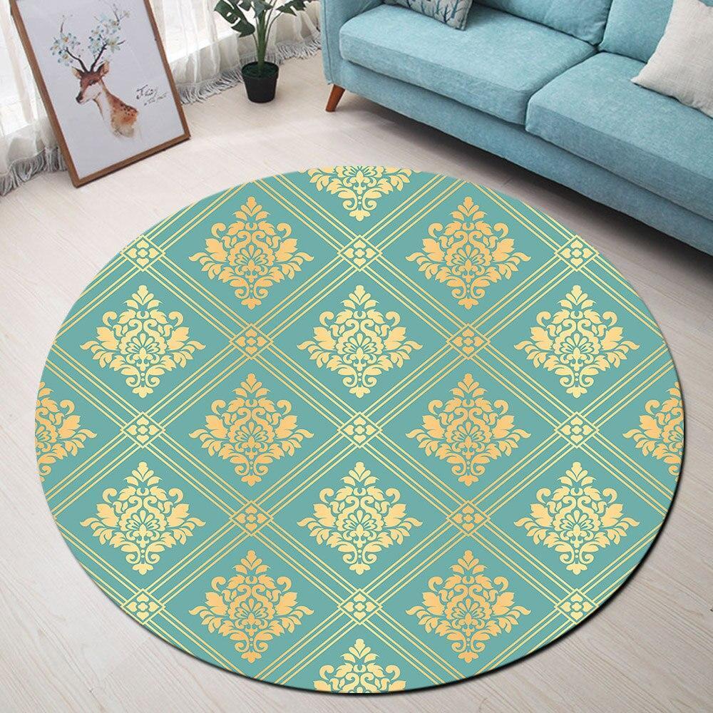Runder Teppich <br> Blau und Senf