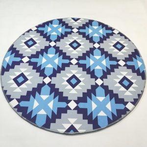 Runder Teppich <br> Blaue Muster