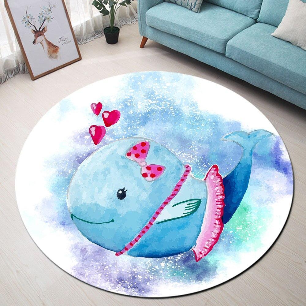 Runder Teppich <br> Blauer Delphin