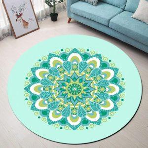 Runder Teppich <br> Blauer Himmel Mandala