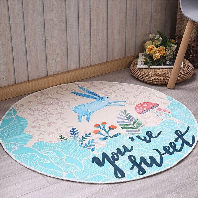 Runder Teppich <br> Blaues Kaninchen