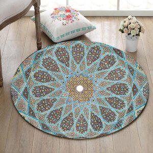 Runder Teppich <br> Blaues Mandala