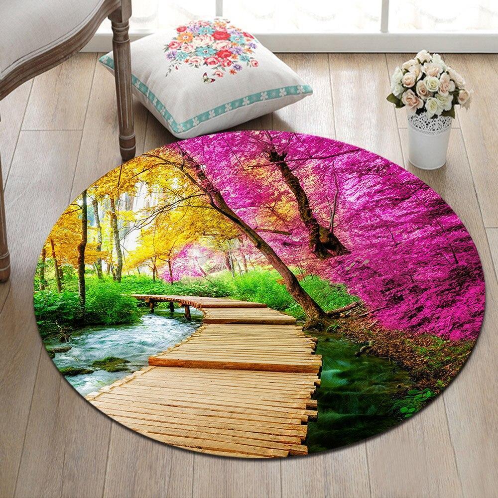Runder Teppich <br> Blumengarten
