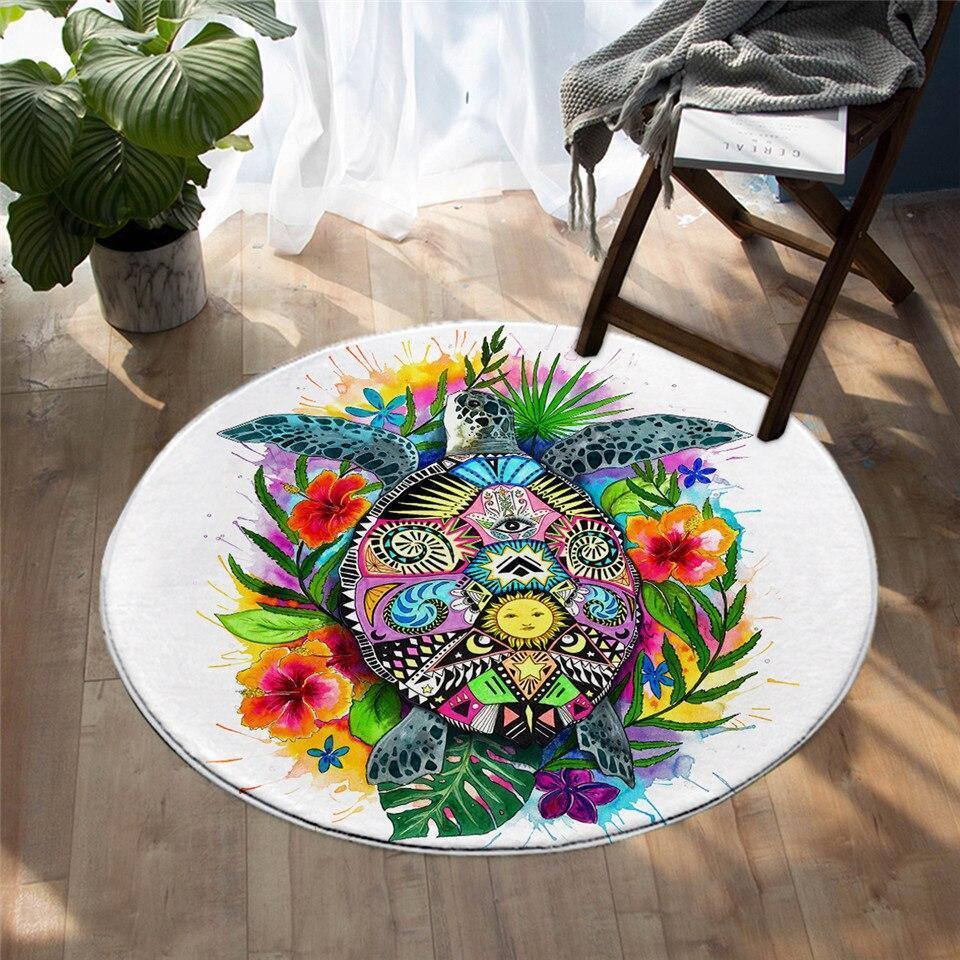 Runder Teppich <br> Böhmische Kunst Schildkröte