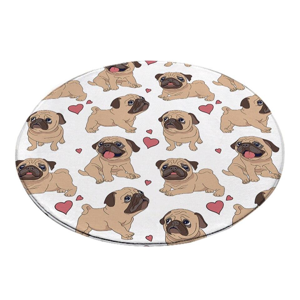 Runder Teppich <br> Bulldoggenliebe