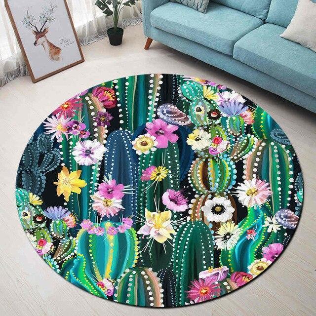 Runder Teppich <br> Bunter Kaktus