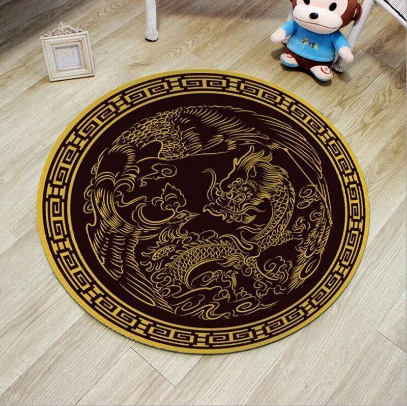 Runder Teppich <br> Chinesischer Drache