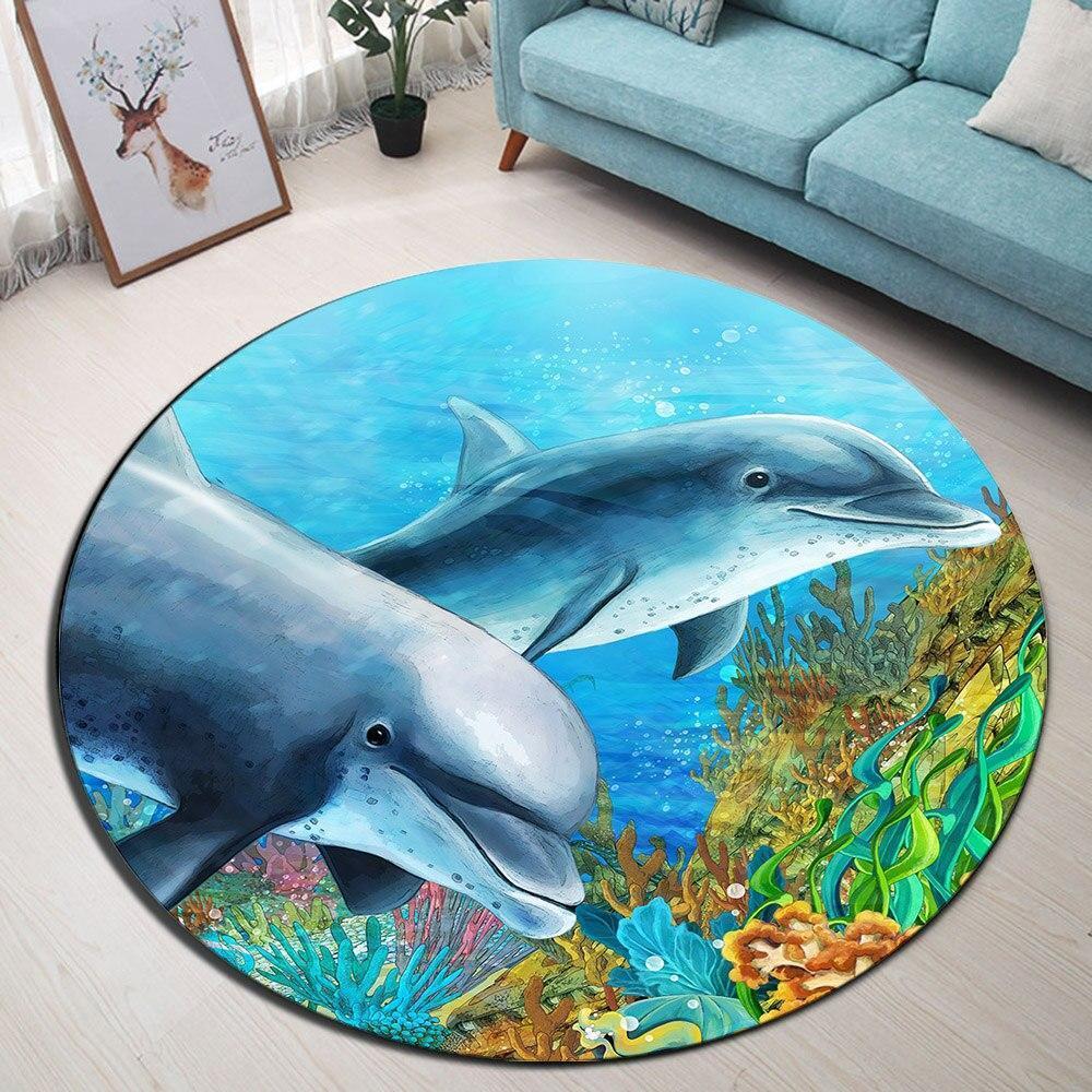 Runder Teppich <br> Delfin