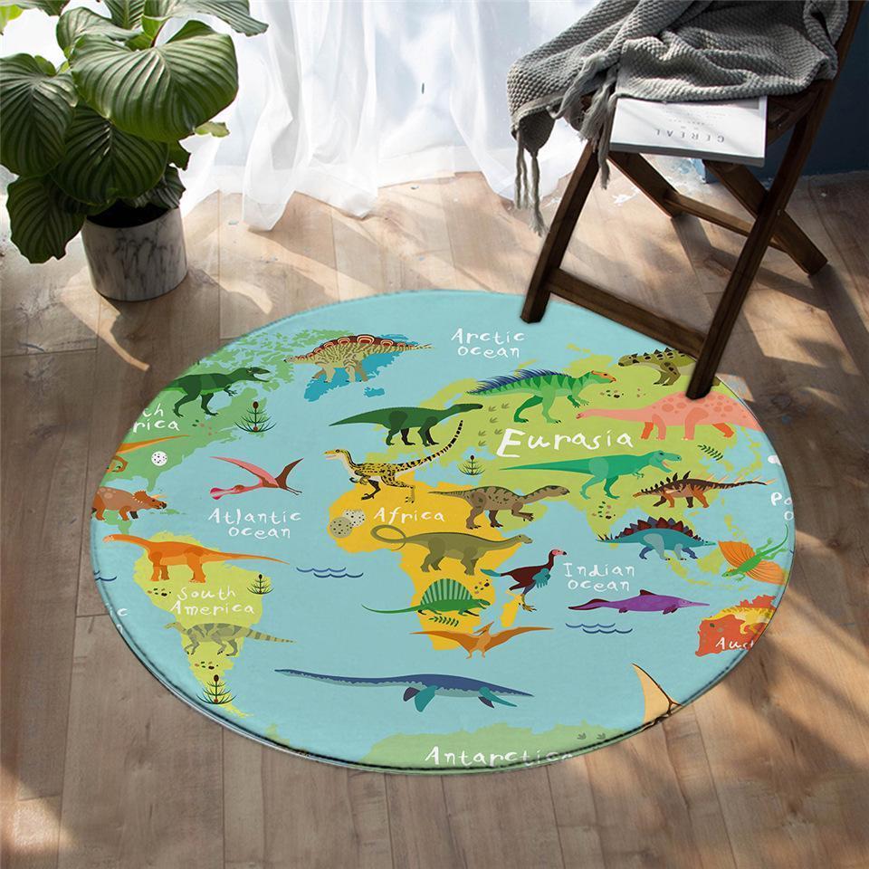 Runder Teppich <br> Dinosaurier