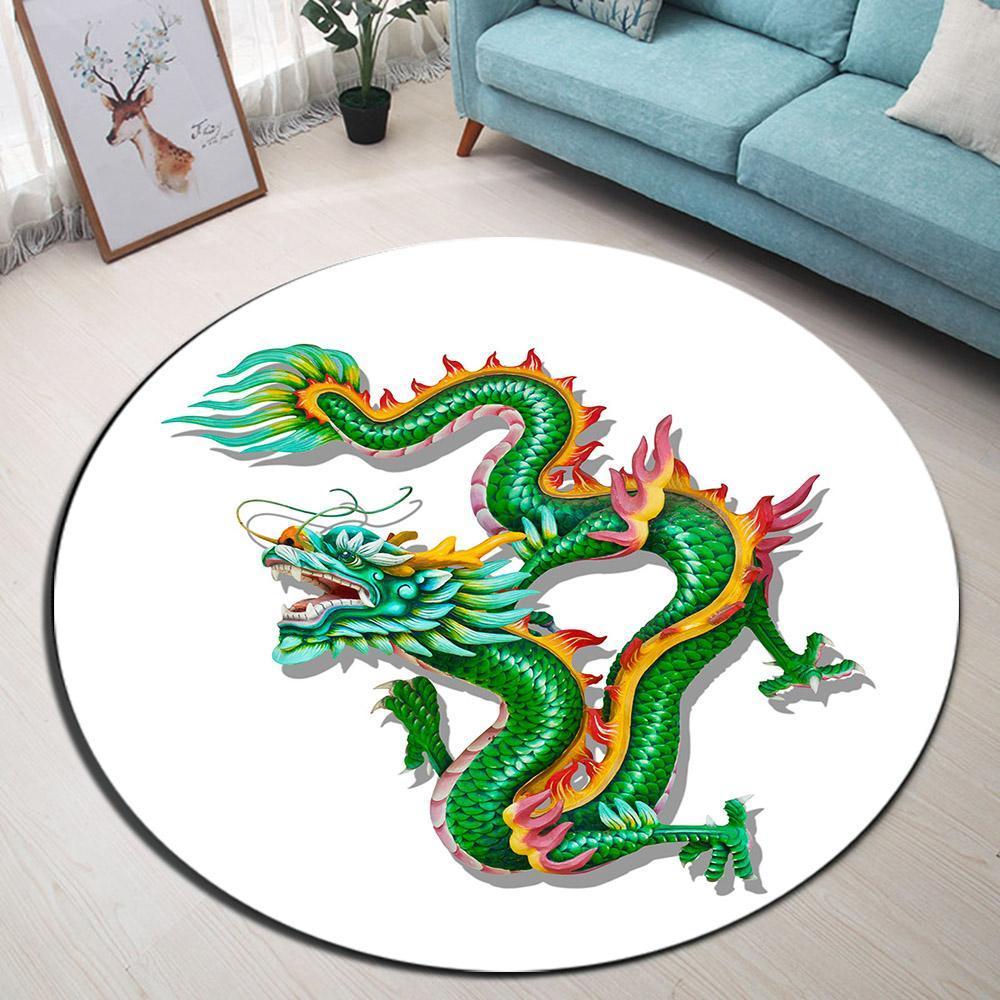Runder Teppich <br> Drachen