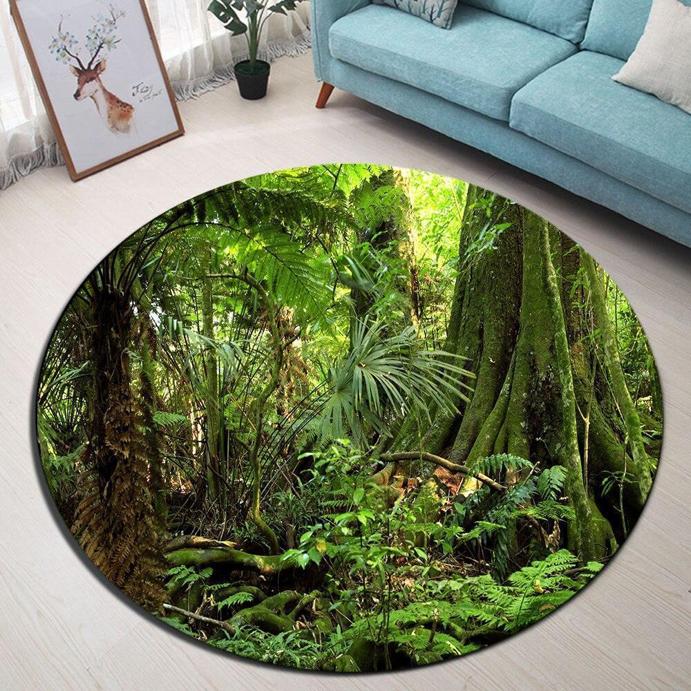 Runder Teppich <br> Dschungel