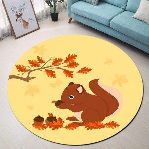 Runder Teppich <br> Eichhörnchen