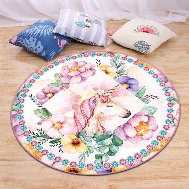 Runder Teppich <br> Einhorn & Blumen