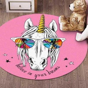 Runder Teppich <br> Einhornpferd