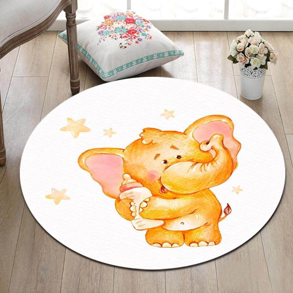 Runder Teppich <br> Elefantenkind