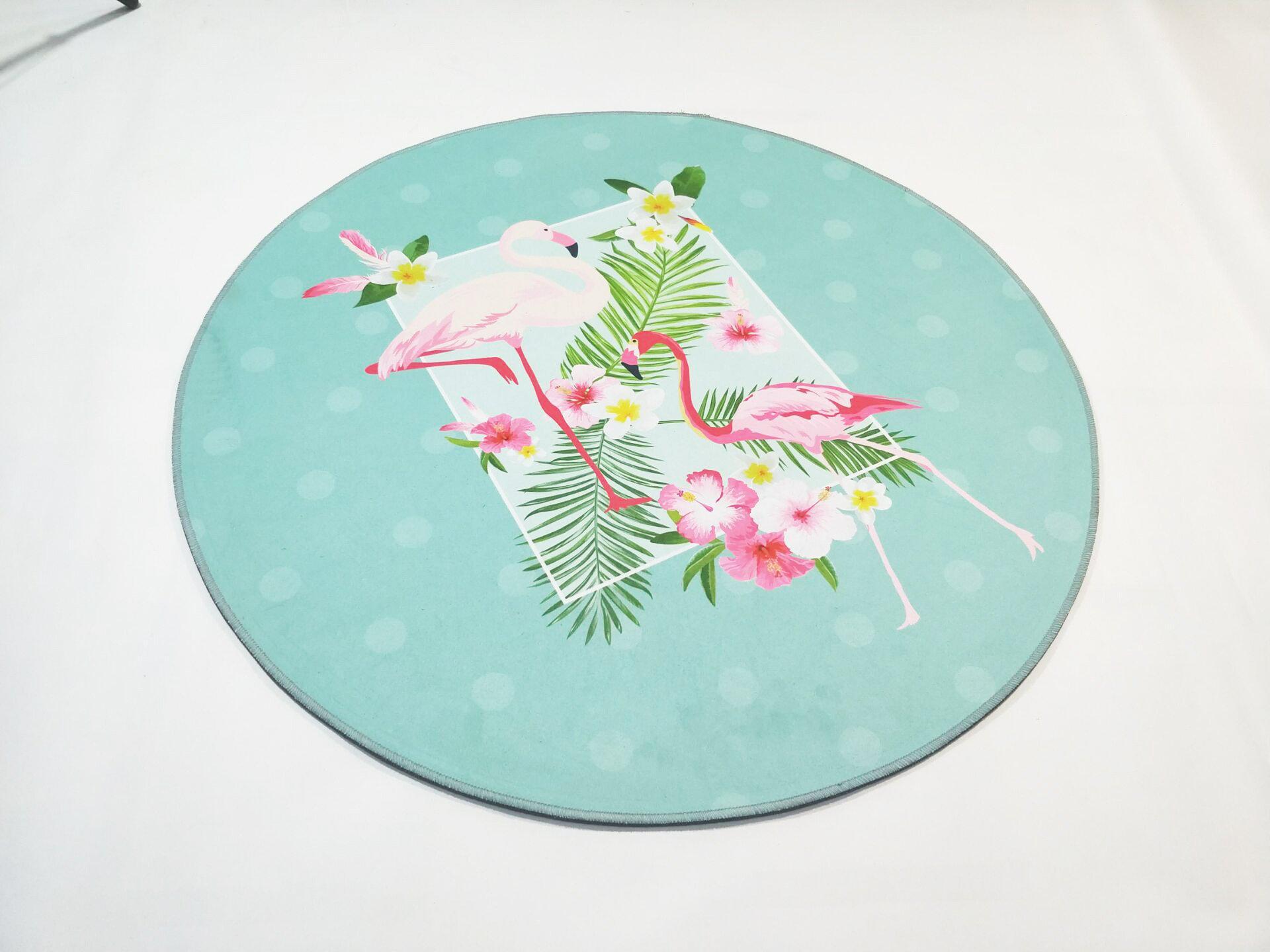 Runder Teppich <br> Eleganter Flamingo