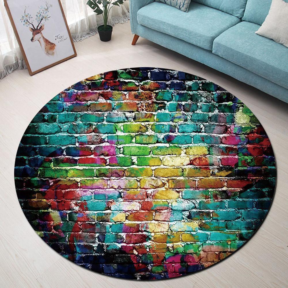 Runder Teppich <br> Farbige Wand