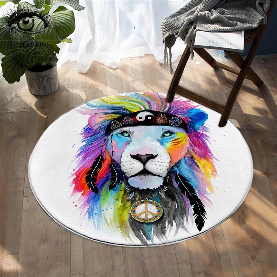 Runder Teppich <br> Farbiger Löwe