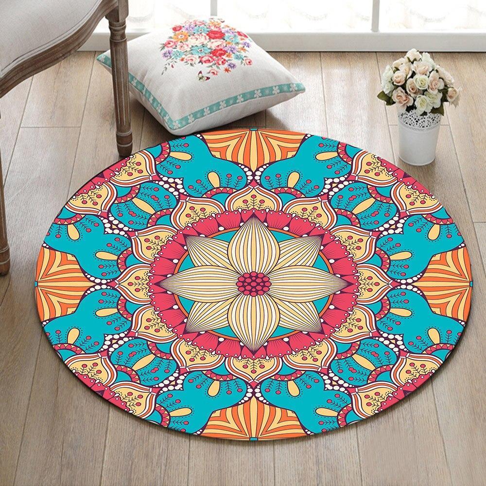 Runder Teppich <br> Farbiges Mandala