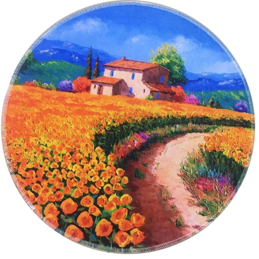 Runder Teppich <br> Felder von Sonnenblumen