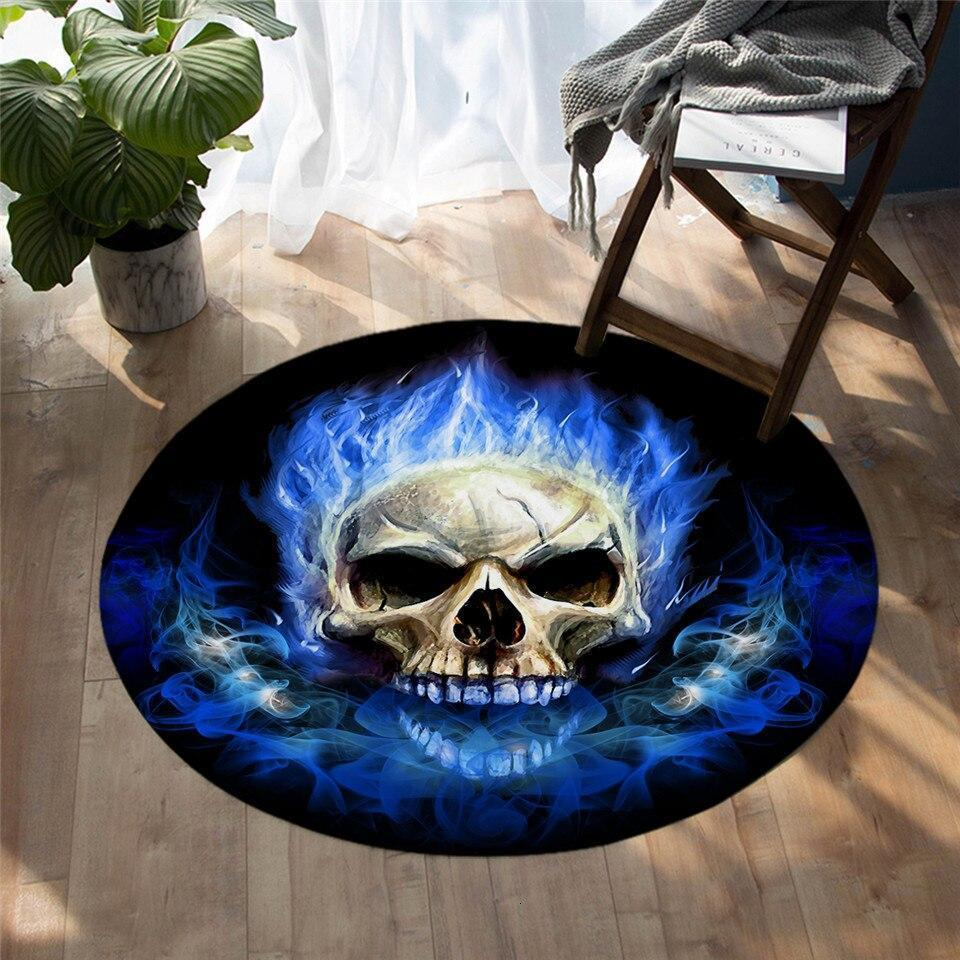 Runder Teppich <br> Flammender Schädel
