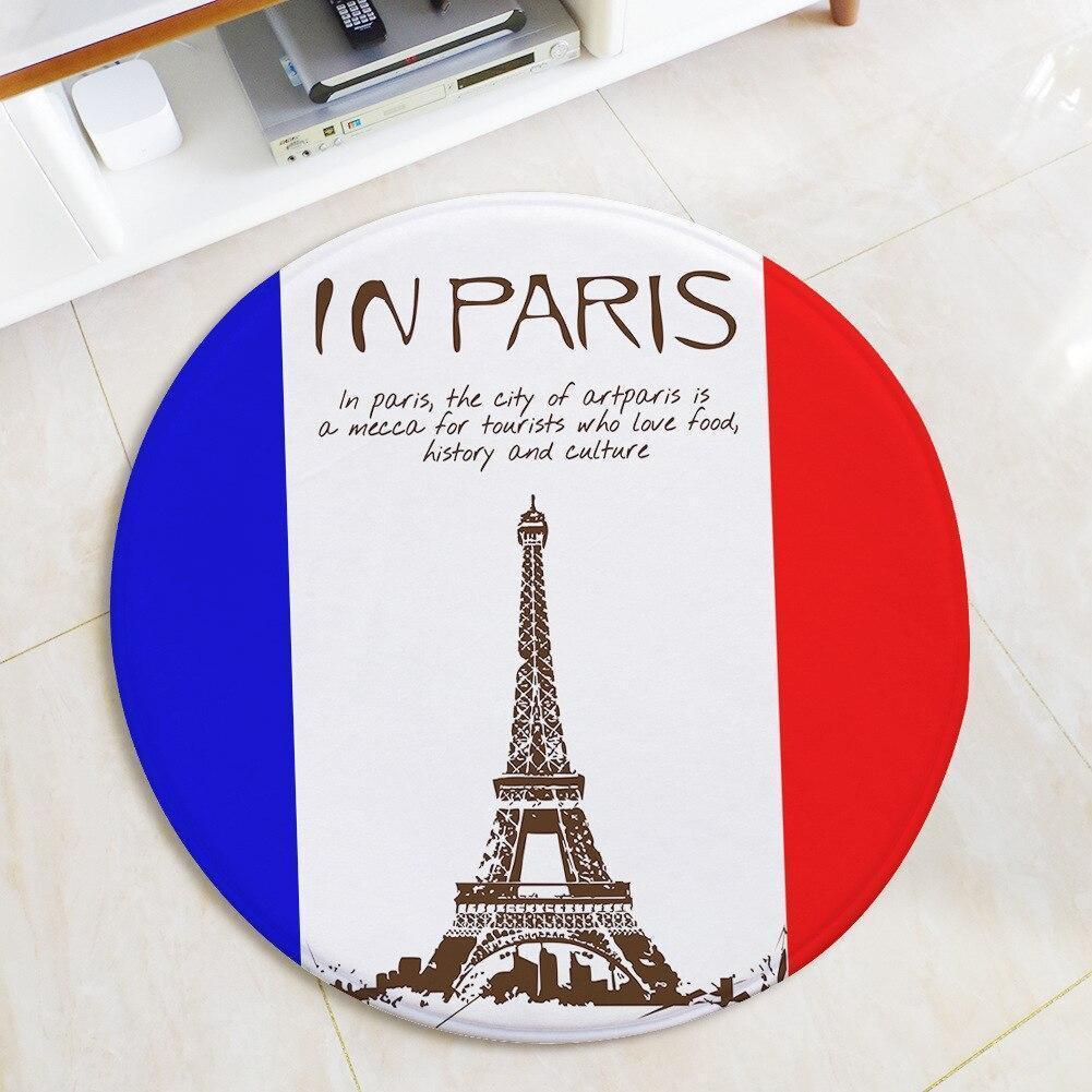 Runder Teppich <br> Französische Flagge