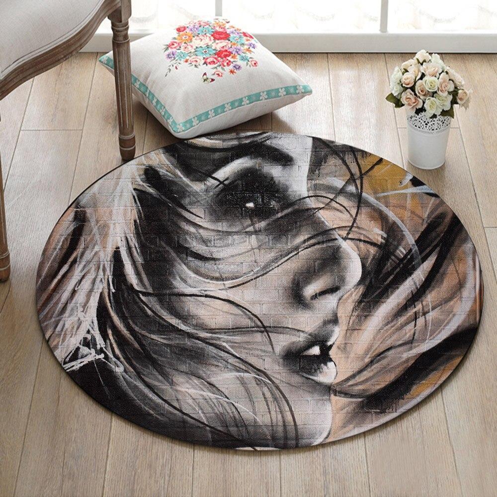 Runder Teppich  <br> Frauengesicht