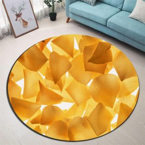 Runder Teppich <br> Gelbes Blütenblatt