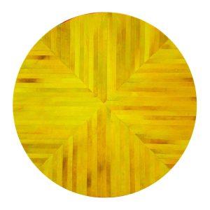 Runder Teppich <br> Gelbes Rindsleder